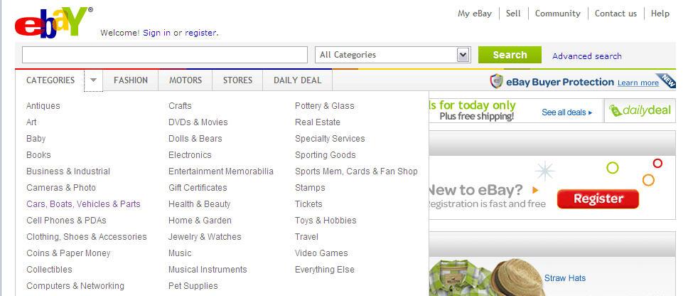 ebay 21  תפריטי ניווט, נכון ובקלות
