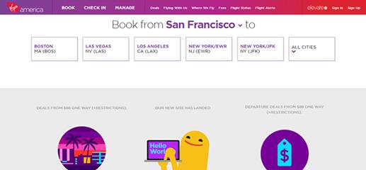 האתר החדש של Virgin America