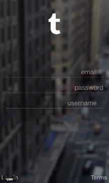 מסך הרישום של Tumblr. מה האפליקציה מציעה? מקור: צילום מסך