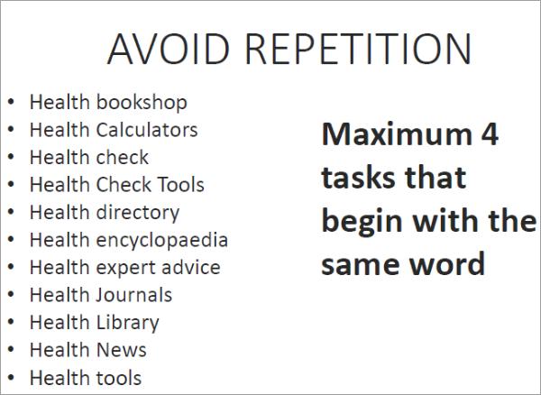 למקד את משימות המשתמש על ידי שימוש הימנעות מחזרה על בחירת המילים
