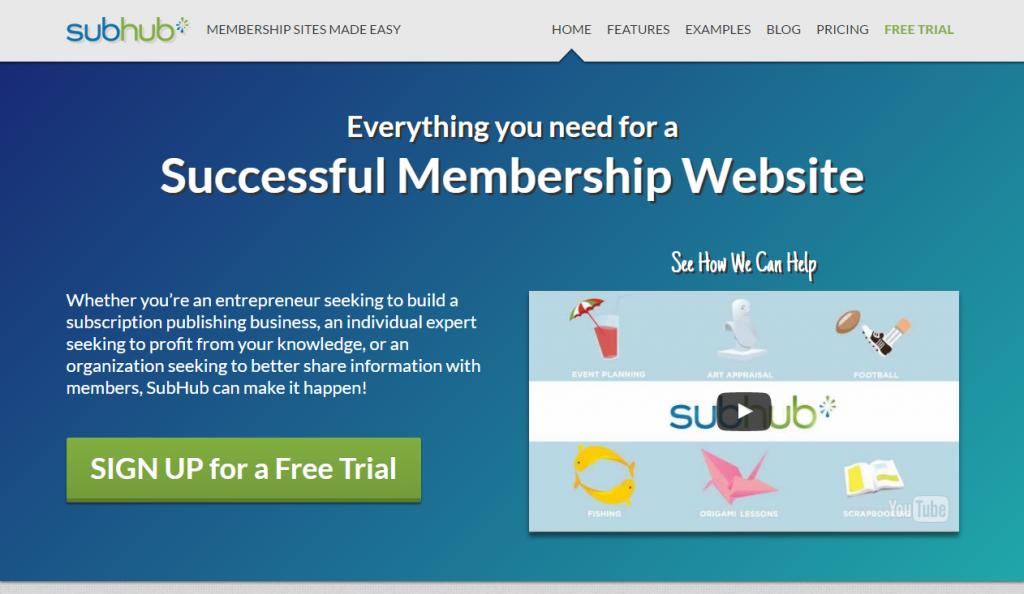 אתר subhub, לדוגמא, מציג שילוב של hero image עם קריאה לפעולה, וסרטון וידאו